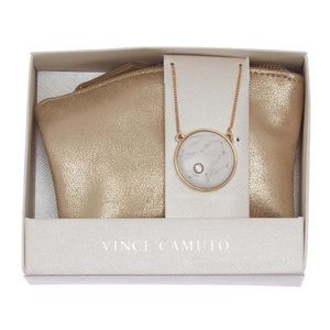 Vince Camuto Gold Marbled Stone Boxed Necklace